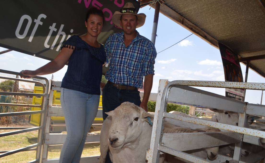 """Phillipa and Daniel Jones, """"Needlewood"""", Condobolin with one of the two rams they paid $3250 for in the draft of six rams which avergaed $2792."""