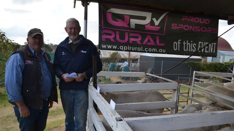 """Craig Pellow, QPL Temora with David Black, Murchison East, Victoria who was a major buyer at the Aussie White sale at Narrandera. """"I'm a single operator so the breed suits me for easy management with no flies and no shearing."""""""