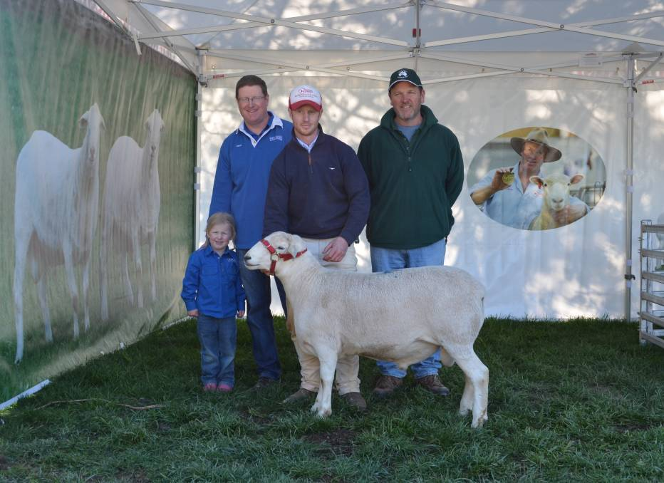 Jason and Matilda Baker, Timor Studs, Ross Gilmore, Tattykeel studs, and Josh Clinton, Camden Valley Australian Whites, with their jointly purchased ram.